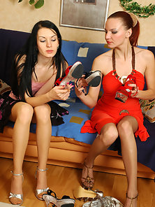 Red Lingerie Ponytail Girl Marion and Susis Making Playing Each Other Twat