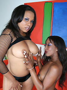 Two Hot Ebony Babes Licking Their Pussy with Horny Action
