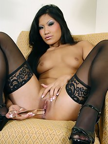 Dark Haired Babe in Black Stockings Enjoying Transparent Dildo to Her Cunt