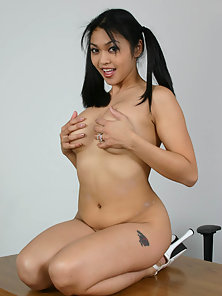 Cute Babe Mika Tan Enjoys Hot Fingering Action in Naked Body in Classroom