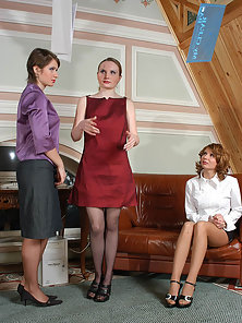 Nellie and Alice and Stella Having Lesbian Fun in Office Room