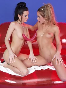Free porn gallery picture Sinfully horny lesbian babes in wild dildo toying and fucking action