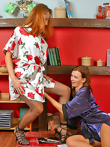 Grubby Lesbians Hannah and Jaclyn Wearing Pantyhose Crazy Lesbian Funny