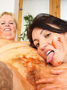 Hot Old Granny Having Naughty Lesbian Sex With Her Granddaughter
