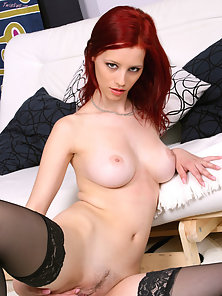 Black Lingerie Wearing Sexy Red Haired Horny Babe Huge Fingered Her Twat