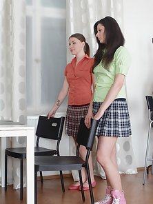 Nasty Teacher Let Cutest Coeds Eat Small Wet Clits In Horny