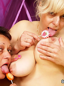 Slim Granny with Her BBW Lesbian Friend Naughty Action with Dotted Dildo