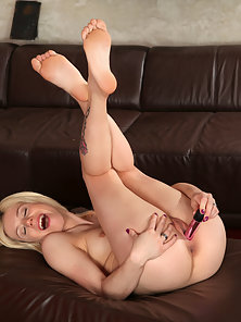 Naughty Blonde Coed Fucks Her Cock Starved Twat with Mini Toy