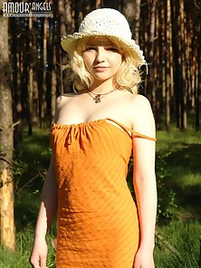 Blonde Horny Chick Lesbian Sexy Pose in her Orange Dress