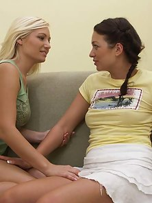 Blonde and Brunette Hot Lesbian Girls Making Horny Kissing and Licking Action