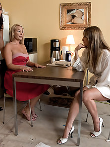 Threesome Busty Lesbians Sucking and Fucking With Strapon Dildo in BDSM Action