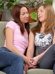 Innocent Teen Babe Lacy and Karlin Fuck Pussies with Dildo and Fingering on Couch