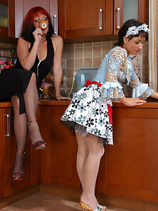 Stunning Babes Dorothy and Subrina Takes Their Sex Pleasure in Kitchen