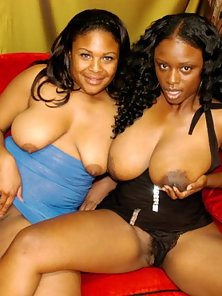 Two Ebony Mammoths Licking Each Other Nipples and Then Black Slits in Pleasure