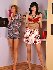 Seductive Slim Helena and Clare Seducing Each Other With Soft Pantyhose