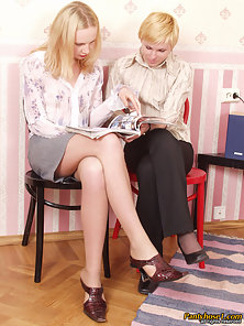 Nolly and Ira at pantyhose licking session
