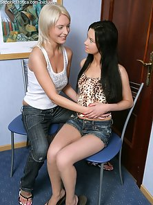 Petite Brunette Blonde Lesbians Daina and Brea Kissing and Licking