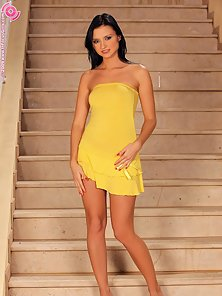 Brunette Babe Debby Shows Yellow Dress Naked and Lusty In Sex