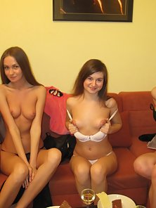 Several Horny Babe Display Their Bare Figure on Single Couch
