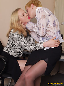 Two Blonde Sluts Nolly and Ira Rubbing Boobs and Licking In Indoor
