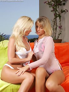 Blonde Sexy Babes Gina and Paulina Gets Nice Licking Actions on Couch