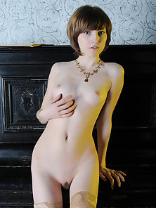 Short Haired Slim Chick Excitedly Shows Her Perky Tits and Pink Pussy