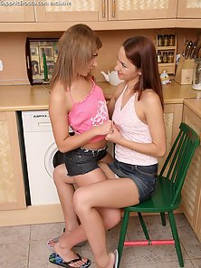 Pretty Brunette Girl Orine and Lacy Share Licking and Strapon Fucking On Chair