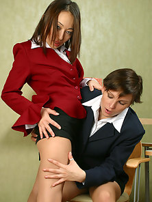 Sexy Brunette Babes Ira and Isidore Making Sexual Poses In Uniform