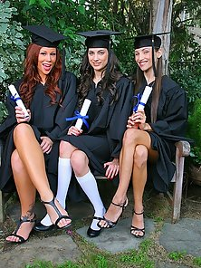 Horny and Hot Three Lesbian Babes Celebrate Their Graduation in Here