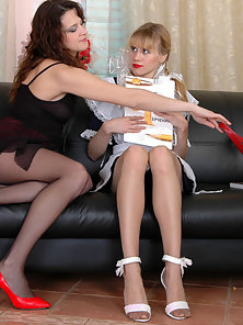Busty Nasty Babes Dolly and Joanna Perform Great Lesbian Dildoing Act on Couch