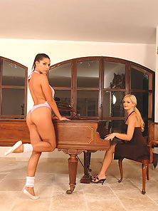 Young Sandra Shine and Zafiras hot horny lesbo sex