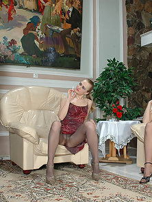 Joanna and Ethel and Florence irresistible lesbian pantyhosers