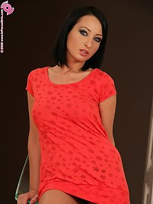 Red Lingerie Cute Brunette Babe Lysa Screening Her Massive Tits in Horny Mood