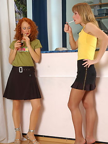 Naughty Babe Diana and Florence Wearing Pantyhose and Pleased Happily