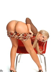 Hot Blonde Chick Stripping Dress Exposing Big Tits and Pussy on Chair