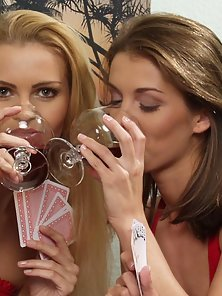 Sexy Blonde and Brunette Babe Pussy Licking Finger Action While Playing Cards
