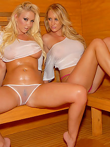 Two Blonde Lesbian Chicks Licking and Posing On Bed in Indoor