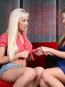 Two Blonde Lesbian Sluts Licking Pink Pussy and Dildo Pounding On Red Couch