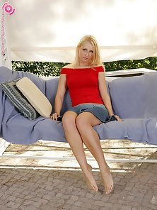 Blonde Babe Vicki in Red Dress Stretch Legs and Fisting On Couch