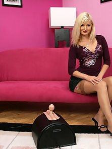 Cute Blonde Jenny Is Fingering and Fucking With Machine Dildo on Couch