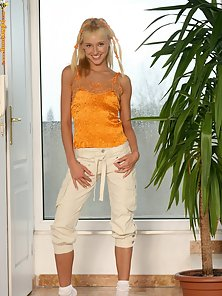 Lingerie Wearing Skinny Blonde Babe Hanna Exposing Her Naughty Poses In Excitedly