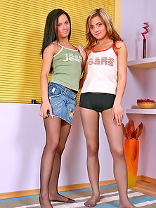 Pantyhose Lovers Sexy Chick Beatrica and Martha Making Great Passion