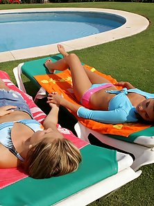 Two Brunette Liz, Jackie, Oil Massage and Lick Action near Pool Outdoor
