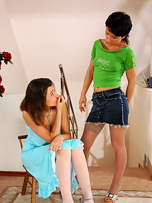 Annabel and Subrina sexy lesbian women