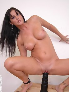 Huge Tits Babe Destroy Her Pussy by Monster Black Dildo