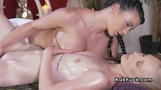 Sexy Lesbians Fingering Deeply After Oil Massage