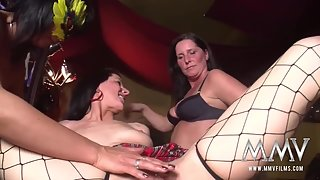 Mature Lesbian Striptease Then Receives Finger Fuck