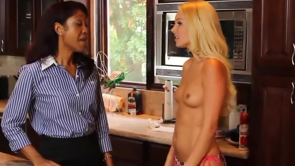 Sexy blonde getting her ass and pussy slapped by lesbian ebony