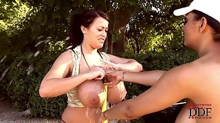 Babes Cleaning Luxury Car With Their Big Boobs Outdoor