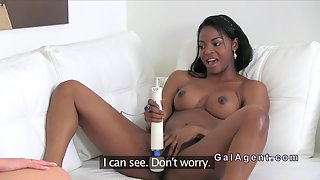 Busty Ebony Rub Her Pussy by Vibrator Then Lick by Her Friend